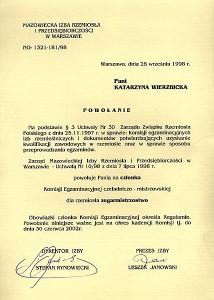 Powołanie na członka Komisji Egzaminacyjnej